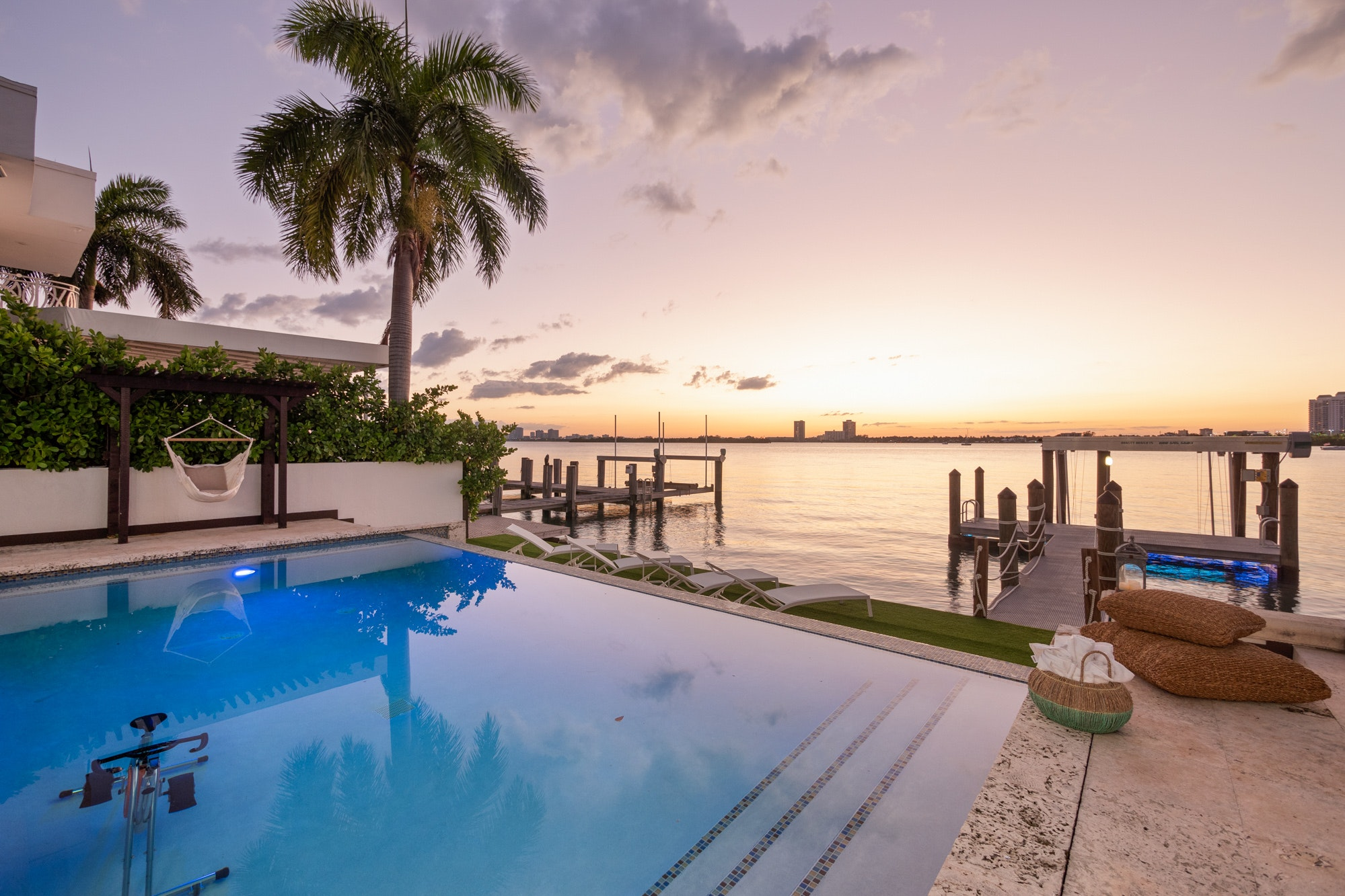 Miami waterfront property with pool and dock